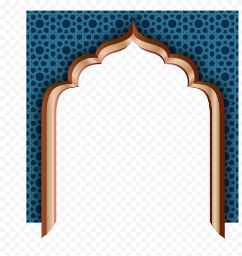 Blue Arabic Mosque Door Ramadan Icon Illustration