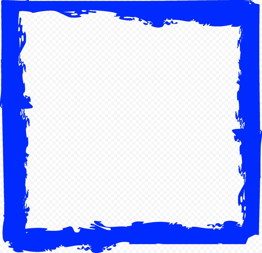 Blue Brush Stroke Grunge Square Frame PNG