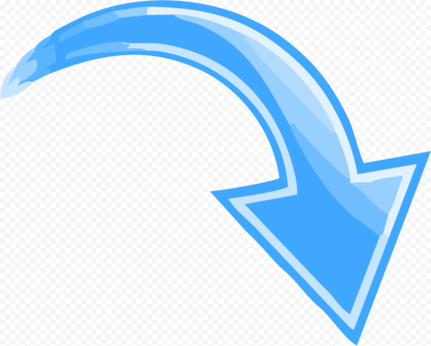 Blue Curved Arrow Pointing down right