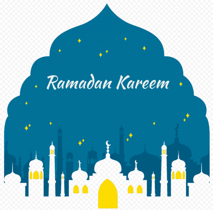 Blue English Ramadan Kareem Poster With Mosque