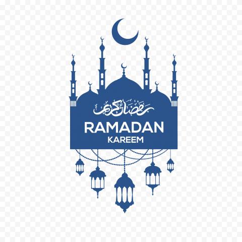 Blue Ramadan Kareem Lanterns Mosque Moon