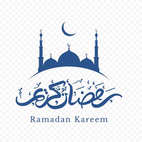 Blue Ramadan Kareem Mosque Moon Logo Icon