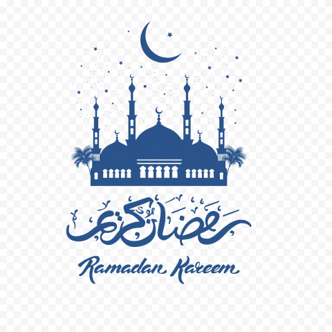 Blue Ramadan Kareem Stars Mosque Moon