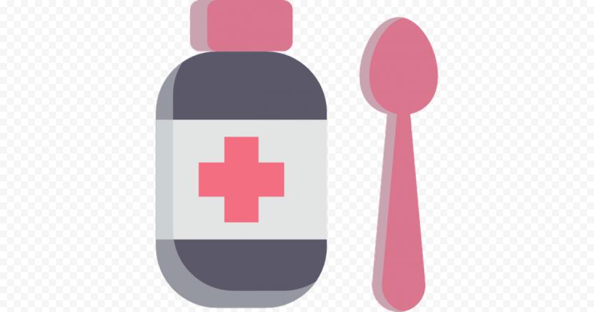 Bottle Liquid Syrup Medicine Icon Flat Healthcare