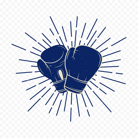 Boxing Box Icon Blue Gloves Logo Sign Symbol Fight