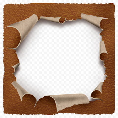 Brown Leather Teared Ripped Hole Effect PNG Image