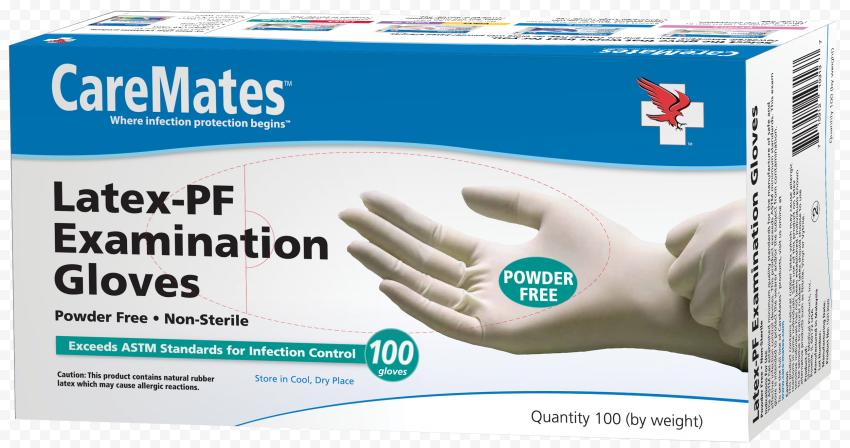 CareMates White Protective Powder Latex Box Gloves