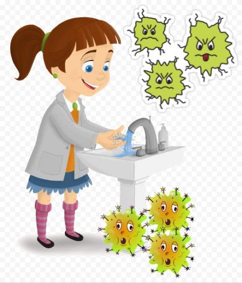 Cartoon Hands Hygiene Girl Germs Water Kids