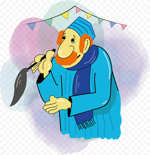 Cartoon Illustration Ramadan Old Muslim