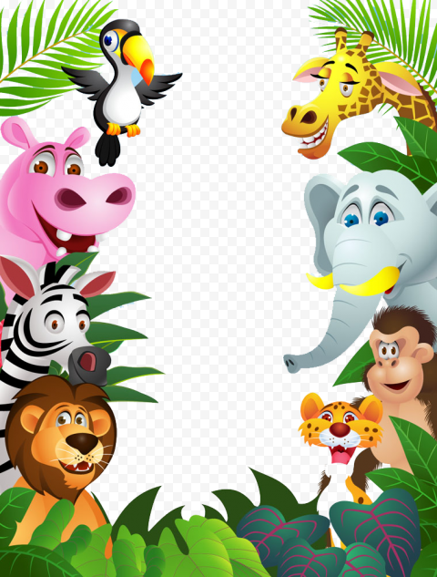 Cartoon Jungle Animals Border Frame Illustration