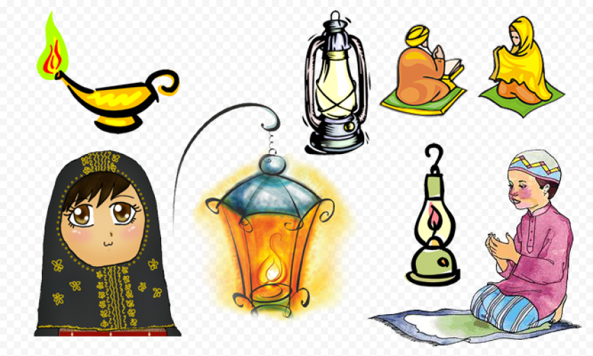 Cartoon Ramadan Decorations Clipart Icons