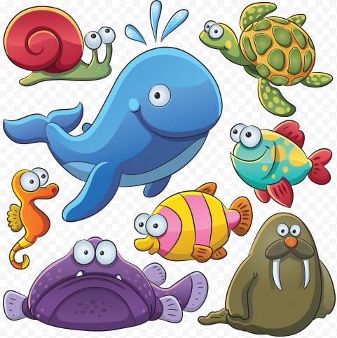 Cartoon Underwater Animals Clipart Sea Fish