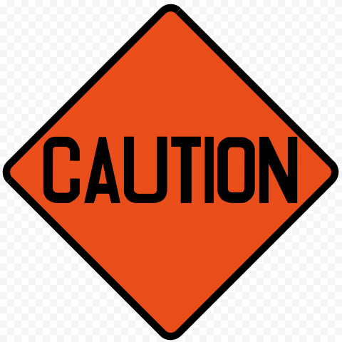 Caution Warning Orange Road Works Sign