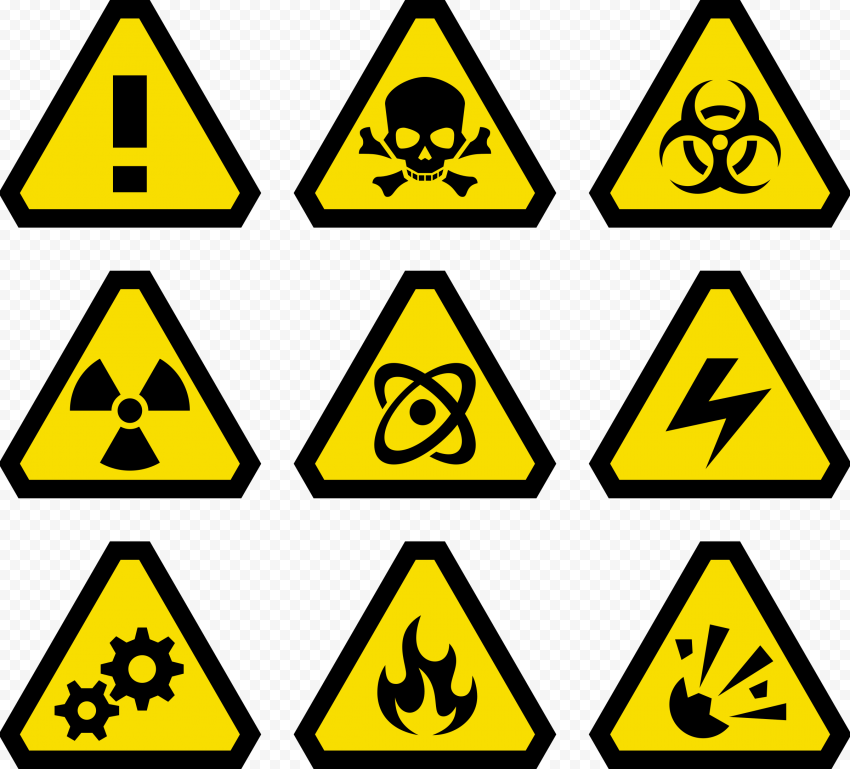 Cautions Signs Set Warning Toxic Hazard Safety