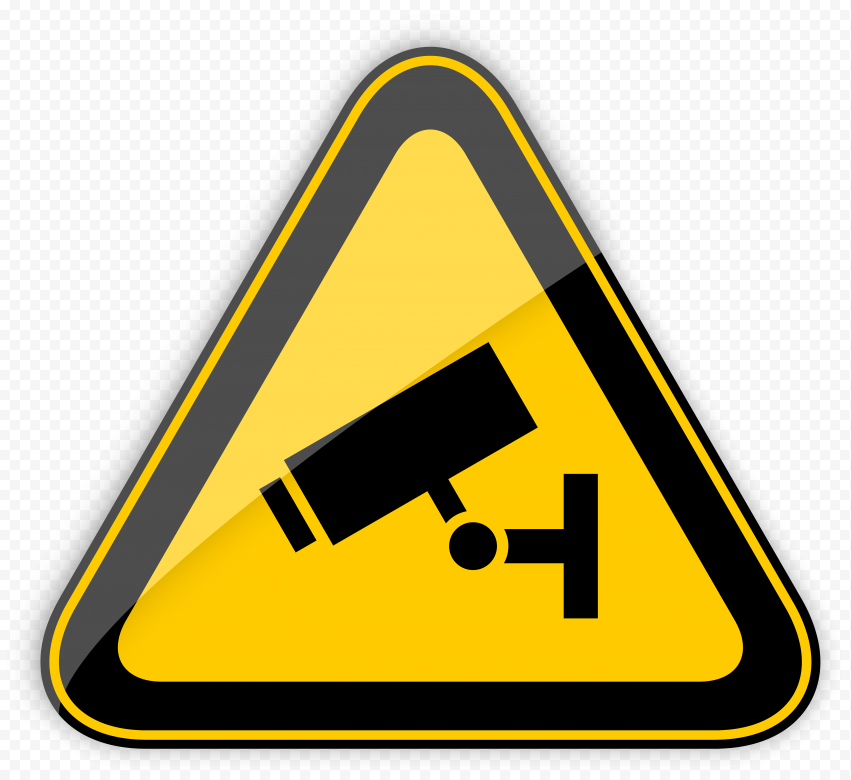 CCTV Security Camera Caution Triangle Yellow