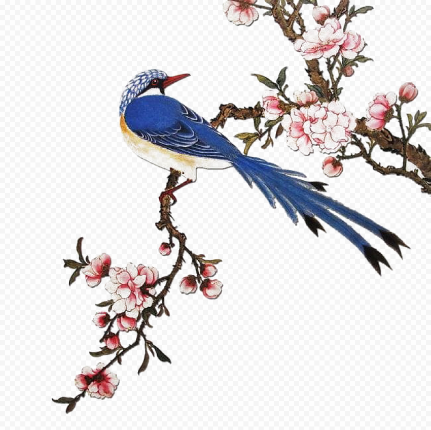Chinese Bough Flowers Birds Canvas Effect
