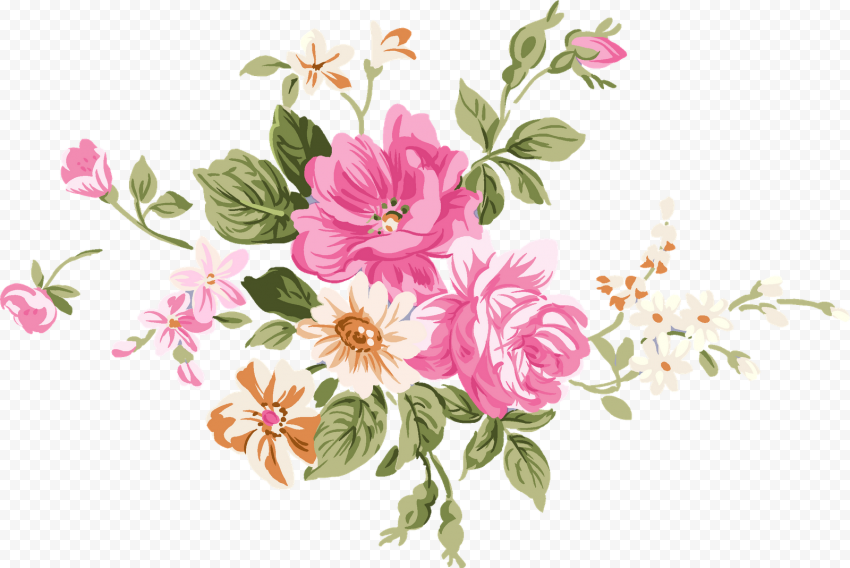 Chinese Flower Illustration Pink & Green