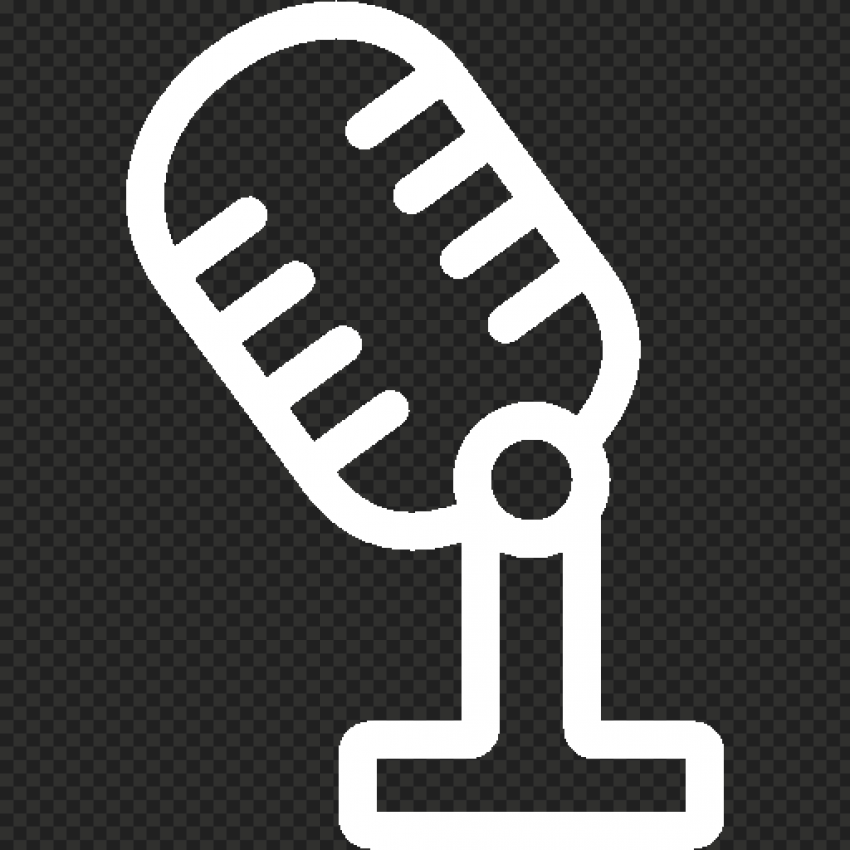 Classic Microphone Studio Mic White Icon HD PNG