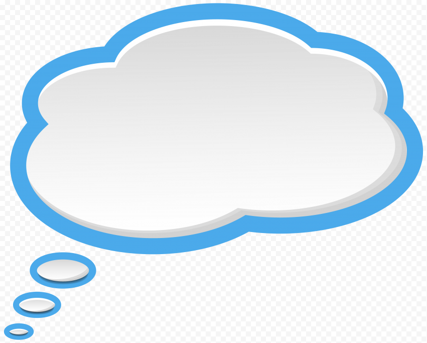 Cloud Thought Bubble Thinking Speech Blue Border