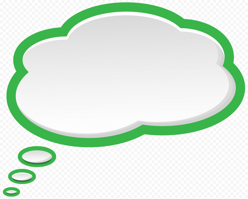 Cloud Thought Bubble Thinking Speech Green Border