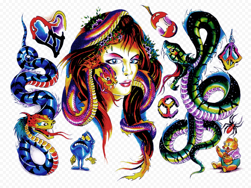 Color Tattoo Snakes Clipart Woman Face
