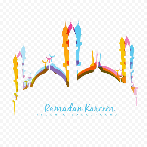 Colorful English Ramadan Kareem Mosque Design