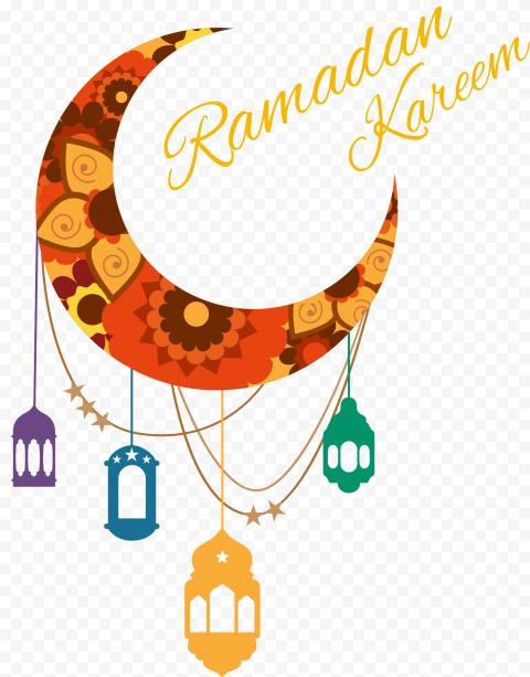 Colorful Lanterns Crescent Moon Ramadan Kareem
