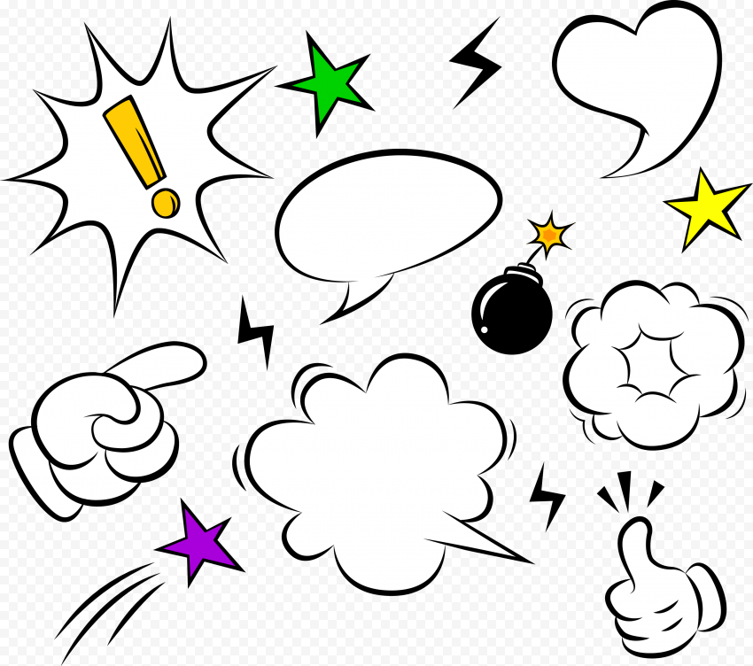 Comic Elements Vector Explosion Speech Clipart