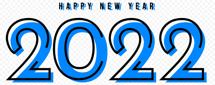 Creative Blue & Black Happy New Year 2022 PNG