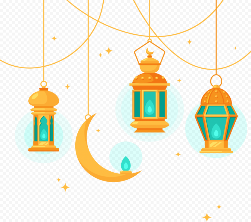 Creative Orange Illustration Ramadan Moon Lantern