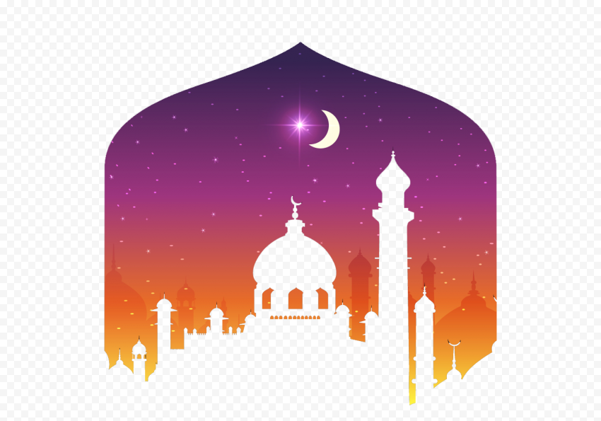 Creative Purple Ramadan Card Poster Mosque Design