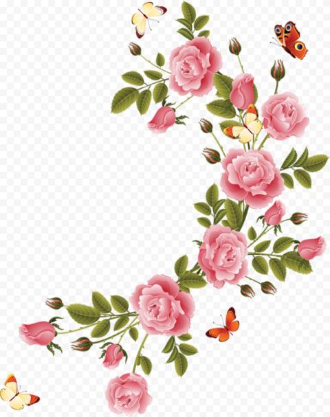 Curved Illustration Pink Flower Corner Butterflies