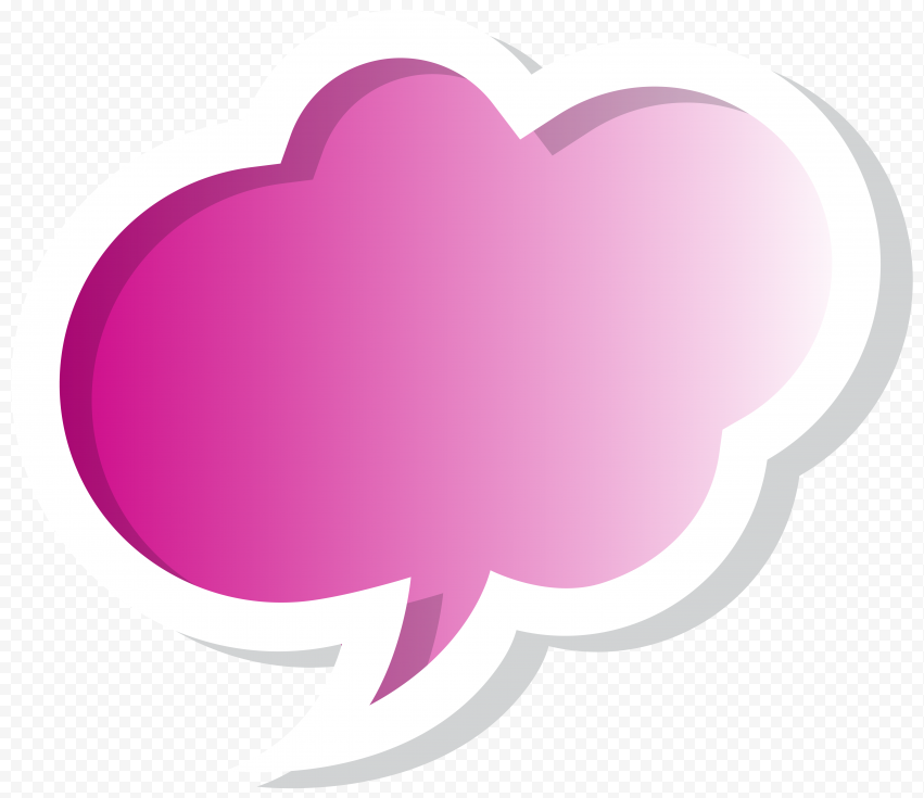 Cute Pink Thought Bubble Thinking Illustration