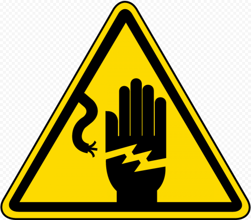 Danger Electric Hand Shock Risk Sign Triangle