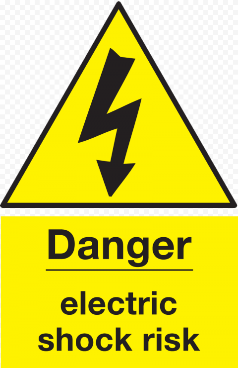 Danger Electric Shock Risk Sign Yellow Safety