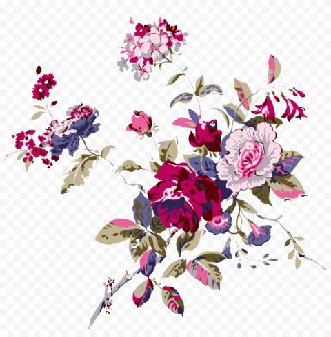 Dark Pink Chinese Flower Cartoon Effect