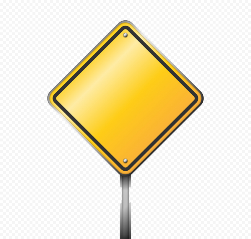Diamond Sign Yellow Blank Driving Road Traffic