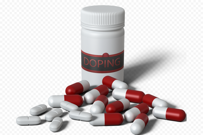 Doping Drugs Pills Bottle Spilling Capsules Oval