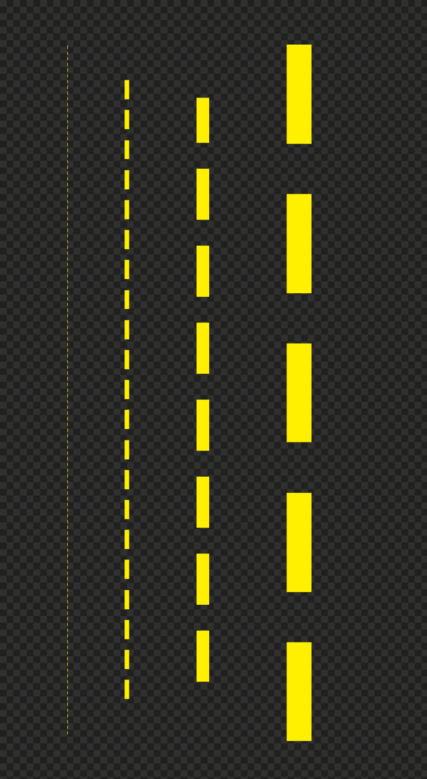 Download Four Yellow Dashed Lines PNG