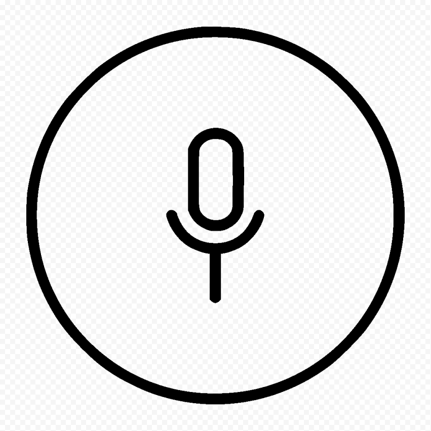 Download Round Voice Recorder Mic Line Black Icon PNG