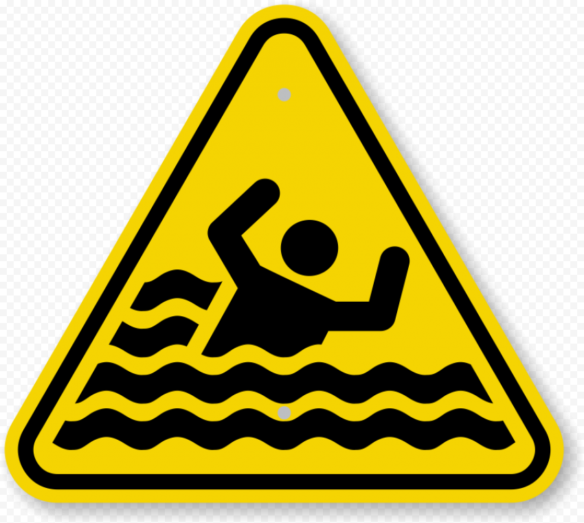 Drowning Sign Safety Caution Warning Danger