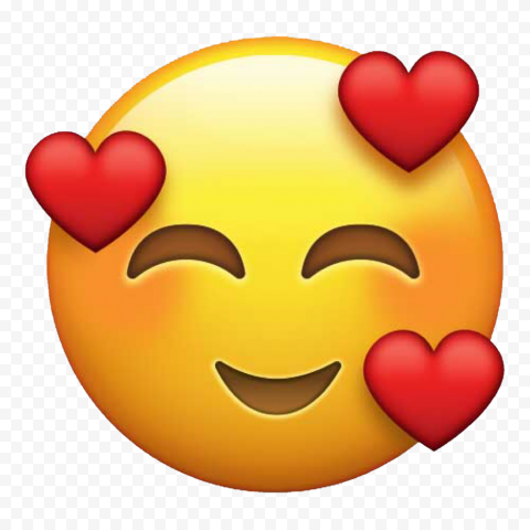 Emoji Smiling With Face 3 Hearts HD