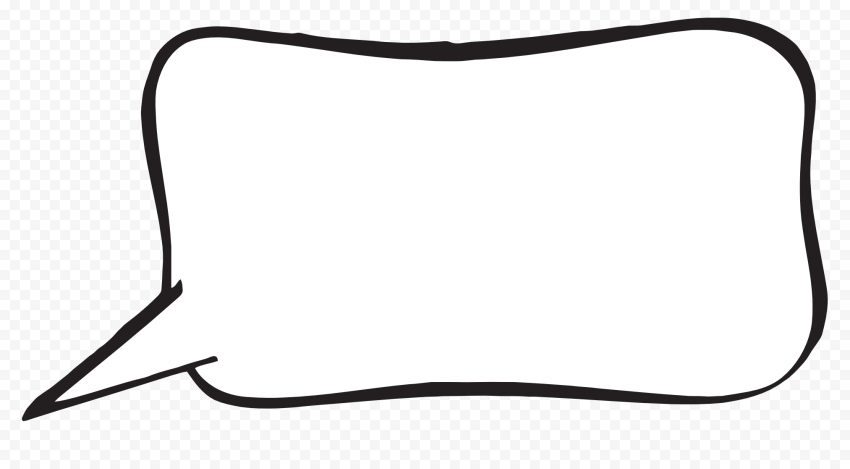 Empty Rectangle Outline Cartoon Thought Bubble