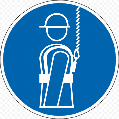 Falling Sign Blue Round Icon Protection Safety