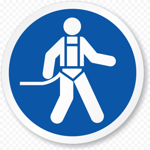 Falling Sign Blue Safety PPE