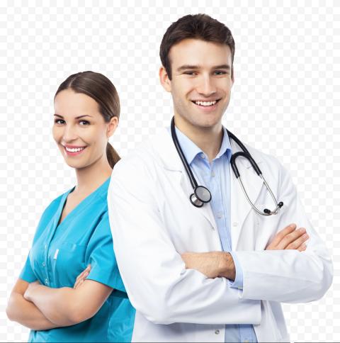 Female & Male Hospital Workers Doctor Nurse