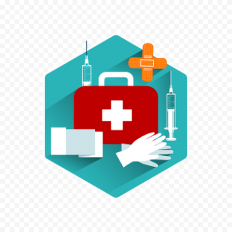 First Aid Bag Health Syringe Injection Gloves Icon