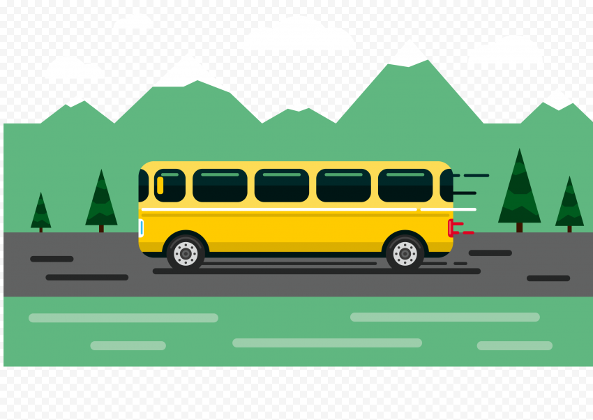 Flat yellow bus green nature trees illustration