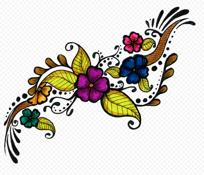 Flowers Colorful Tattoo Design