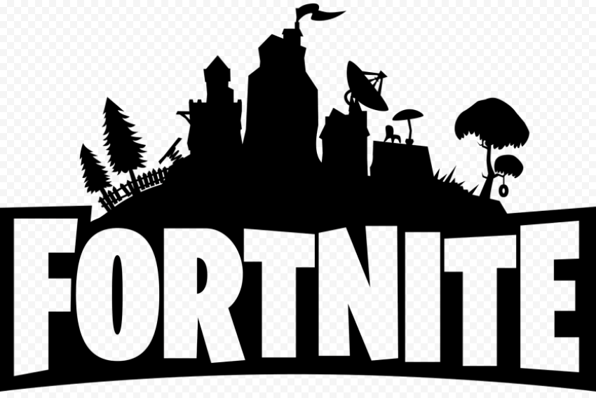 Fortnite logo black and white